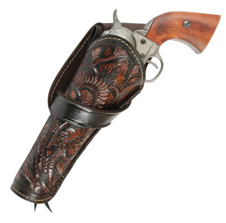 Wedding Mens Brown Leather Tooled Holster | Formal | Bridal | Prom | Tuxedo || Western Holster - LH Cross-Draw - Two-Tone Brown Tooled Leather