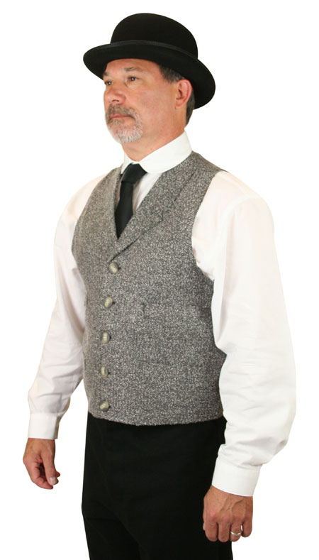 Victorian Mens Gray,Black Cotton Blend Herringbone Notch Collar Dress Vest | Dickens | Downton Abbey | Edwardian || Hobart Vest - Black Herringbone