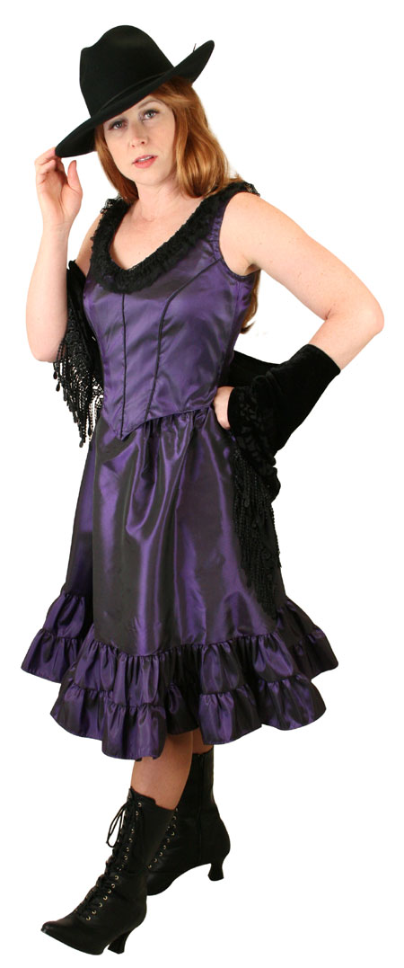 Steampunk Ladies Purple Solid Dress | Gothic | Pirate | LARP | Cosplay | Retro | Vampire || Delilah Saloon Dress, Amethyst
