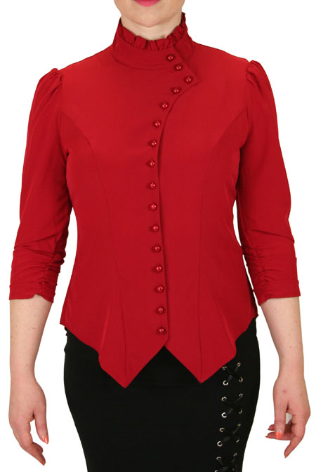 Vesta Blouse Ruched Sleeve - Red