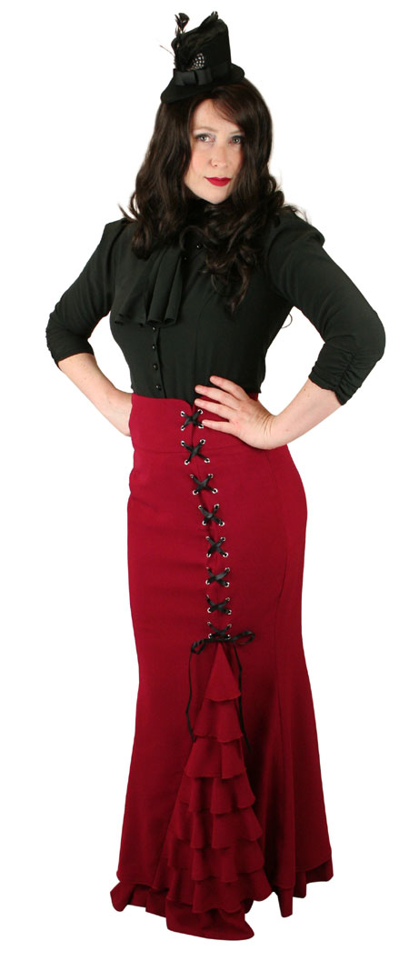 Vintage Ladies Red Solid Dress Skirt   Romantic   Old Fashioned   Traditional   Classic    Vivien Fishtail Skirt - Red
