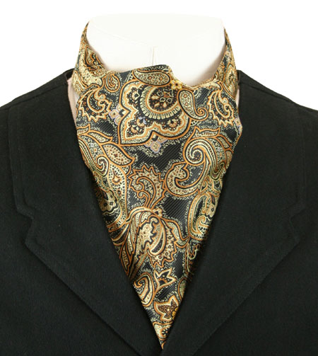 Vintage Mens Multicolor,Gold Paisley Ascot | Romantic | Old Fashioned | Traditional | Classic || Cosmopolitan Ascot - Black and Gold Paisley