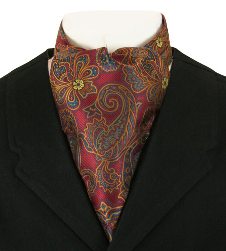 Wedding Mens Multicolor,Red Paisley Ascot | Formal | Bridal | Prom | Tuxedo || Cosmopolitan Ascot - Red Paisley