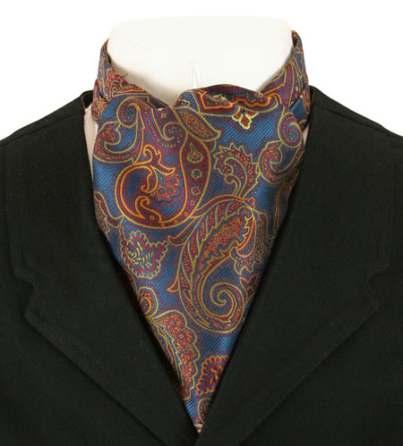 Wedding Mens Multicolor,Blue Paisley Ascot | Formal | Bridal | Prom | Tuxedo || Cosmopolitan Ascot - Blue Paisley