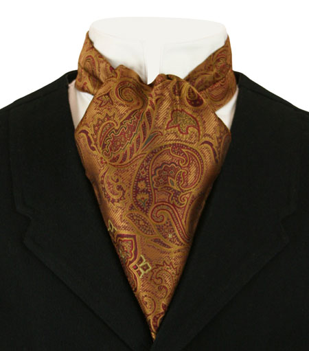 Victorian Mens Multicolor,Gold,Orange Paisley Ascot | Dickens | Downton Abbey | Edwardian || Cosmopolitan Ascot - Antique Gold Paisley