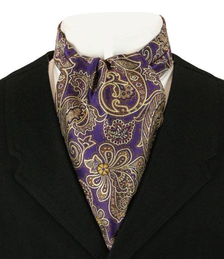 Steampunk Mens Multicolor,Purple Paisley Ascot | Gothic | Pirate | LARP | Cosplay | Retro | Vampire || Cosmopolitan Ascot - Purple Paisley
