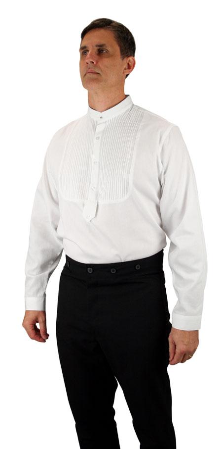 Steampunk Mens White Cotton Solid Band Collar Dress Shirt | Gothic | Pirate | LARP | Cosplay | Retro | Vampire || Brighton Band Collar Shirt - Pleated