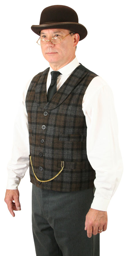 1800s Mens Brown,Gray Wool Blend Plaid Shawl Collar Dress Vest | 19th Century | Historical | Period Clothing | Theatrical || Paulson Plaid Vest