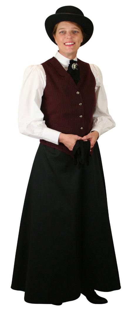 Victorian Ladies Burgundy,Red Cotton Stripe Notch Collar Dress Vest | Dickens | Downton Abbey | Edwardian || Ladies Striped Cotton Vest - Burgundy