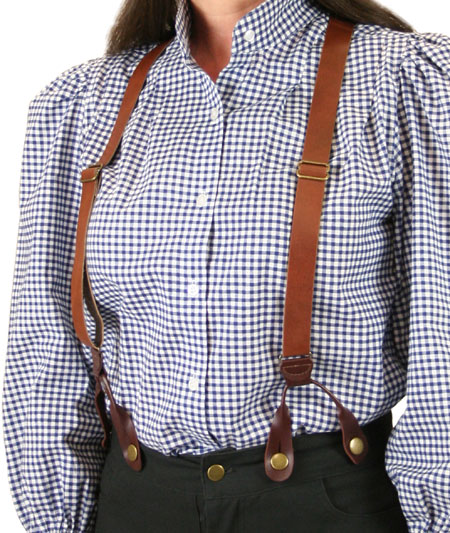 Ladies Suspenders - Brown Leather (Short)