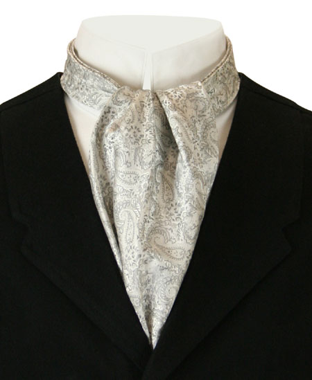 1800s Mens Silver,Gray Paisley Ascot | 19th Century | Historical | Period Clothing | Theatrical || Pleated Paisley Ascot - Light Silver