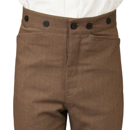 Wedding Mens Brown Cotton Blend Stripe Dress Pants | Formal | Bridal | Prom | Tuxedo || Grady Striped Trousers - Brown