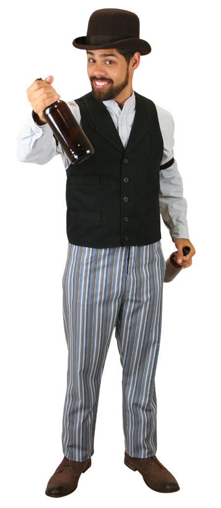Wedding Mens Blue Cotton Blend Stripe Work Pants | Formal | Bridal | Prom | Tuxedo || Washburn Trousers - Blue Stripe