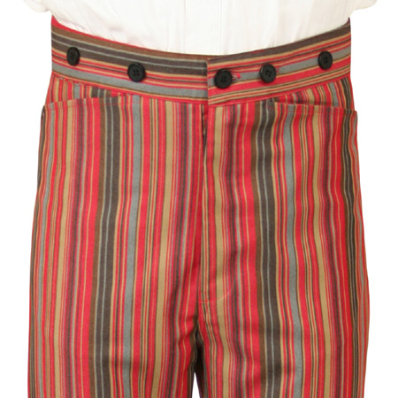 Victorian Mens Red Cotton Blend Stripe Work Pants | Dickens | Downton Abbey | Edwardian || Washburn Trousers - Red Stripe