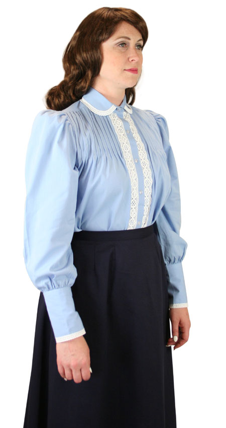 Victorian Ladies Blue Cotton Solid,Lacy Peter Pan Blouse | Dickens | Downton Abbey | Edwardian || Margery Blouse - Blue