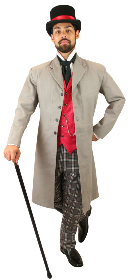 1800s Mens Gray Wool Blend Plaid Dress Pants   19th Century   Historical   Period Clothing   Theatrical    Reilly Plaid Trousers