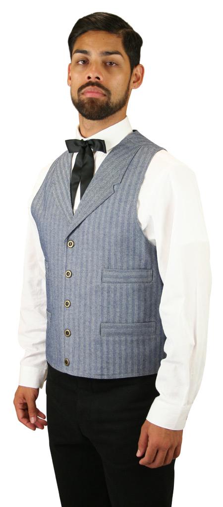 Vintage Mens Blue Cotton Stripe,Herringbone Notch Collar Work Vest | Romantic | Old Fashioned | Traditional | Classic || Corbett Vest - Blue Herringbone