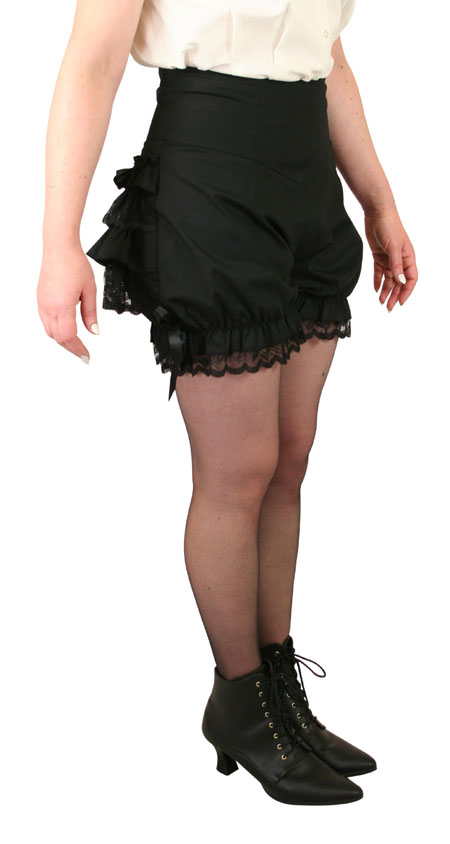 Wedding Ladies Black Cotton Blend Solid Bloomers | Formal | Bridal | Prom | Tuxedo || Trixie Bloomer Shorts - Black