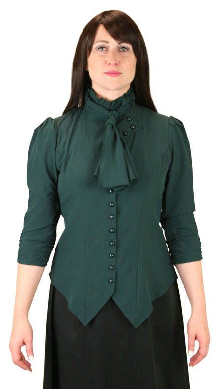 Victorian Ladies Green Solid Stand Collar Blouse | Dickens | Downton Abbey | Edwardian || Vesta Blouse Ruched Sleeve - Green