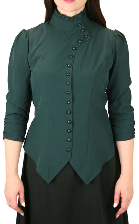 Vesta Blouse Rushed Sleeve - Green