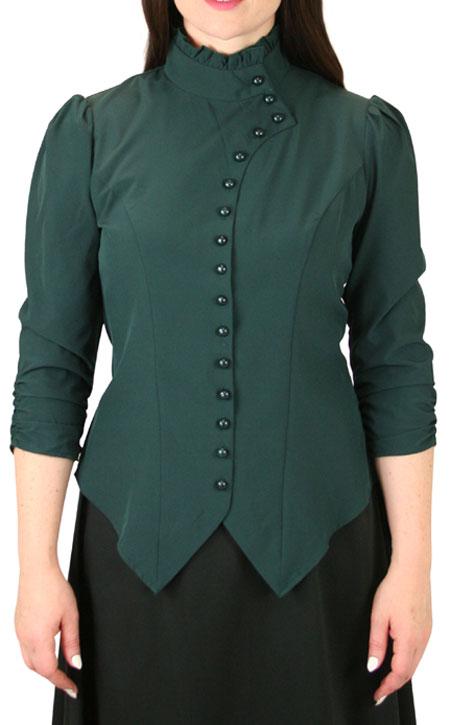 Vesta Blouse Rushed Sleeve - Green