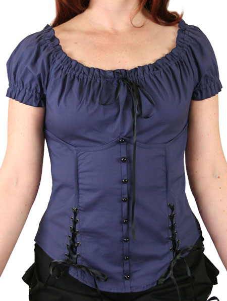 Victorian Ladies Blue Cotton Blend Solid No Collar Blouse | Dickens | Downton Abbey | Edwardian || Cristabell Corset Top Blouse- Navy