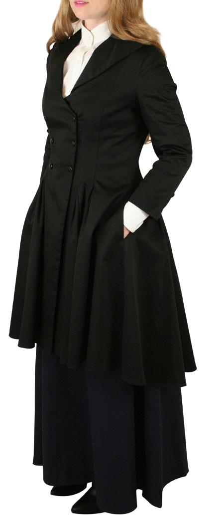 Miranda Double Breasted Frock Coat - Black