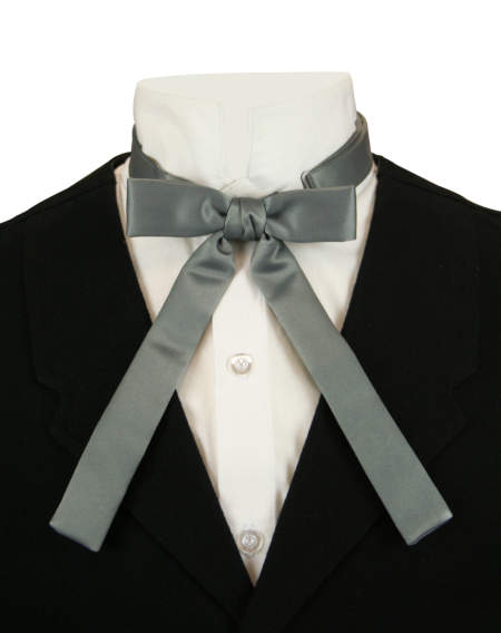 1800s Mens Gray Solid Bow Tie | 19th Century | Historical | Period Clothing | Theatrical || Deluxe Western Bow Tie - Gray