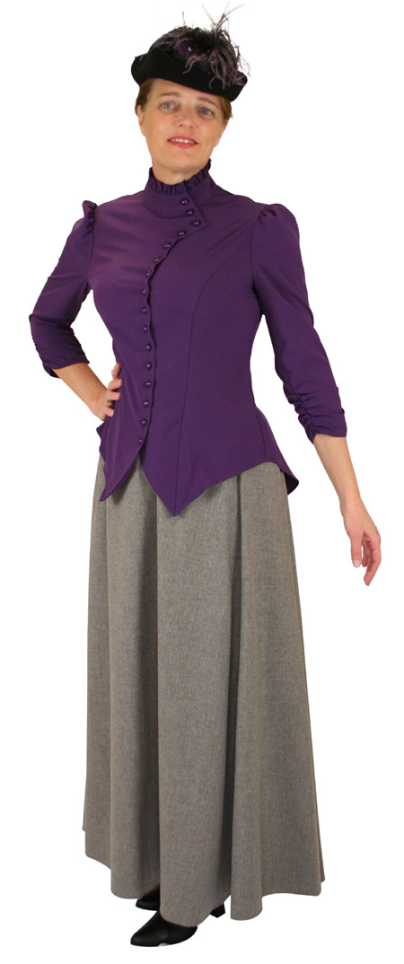 Victorian Ladies Purple Solid Stand Collar Blouse   Dickens   Downton Abbey   Edwardian    Vesta Blouse Ruched Sleeve - Purple