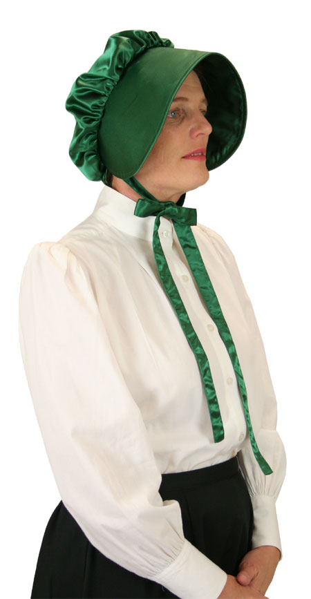Vintage Ladies Green Solid Bonnet | Romantic | Old Fashioned | Traditional | Classic || Satin Bonnet - Emerald