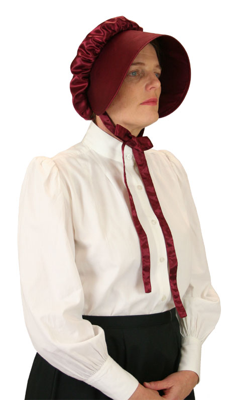 Vintage Ladies Burgundy,Red Solid Bonnet | Romantic | Old Fashioned | Traditional | Classic || Satin Bonnet - Garnet