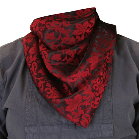 Premium Silk Blend Neckerchief - Red/Black Jacquard