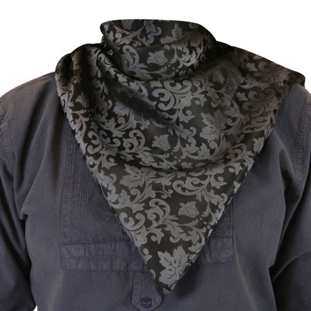 Premium Silk Blend Neckerchief - Gray/Black Jacquard