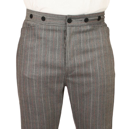 Wedding Mens Gray Wool Blend Stripe Dress Pants | Formal | Bridal | Prom | Tuxedo || Lockwood Trousers - Gray Stripe