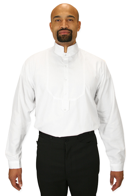 Wedding Mens White Cotton Solid Stand Collar Dress Shirt | Formal | Bridal | Prom | Tuxedo || Classic Dress Shirt - High Stand Collar