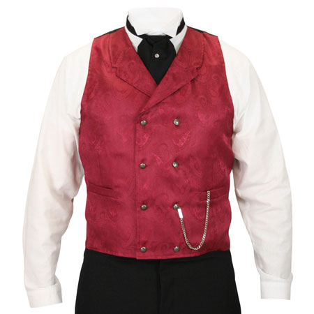 Godfrey Double Breasted Vest - Burgundy Brocade