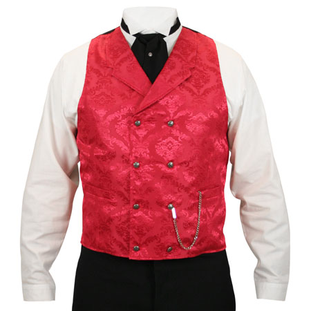 Godfrey Double Breasted Vest - Red Brocade