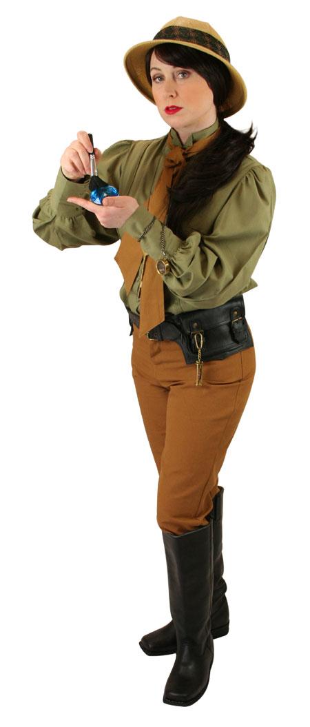 Victorian Ladies Green Cotton Solid Wing Tip Collar Blouse | Dickens | Downton Abbey | Edwardian || Bella Blouse - British Khaki