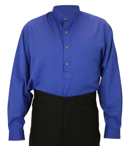 Vintage Mens Blue Cotton Solid Band Collar Work Shirt   Romantic   Old Fashioned   Traditional   Classic    Zebulon Work Shirt - Royal Blue