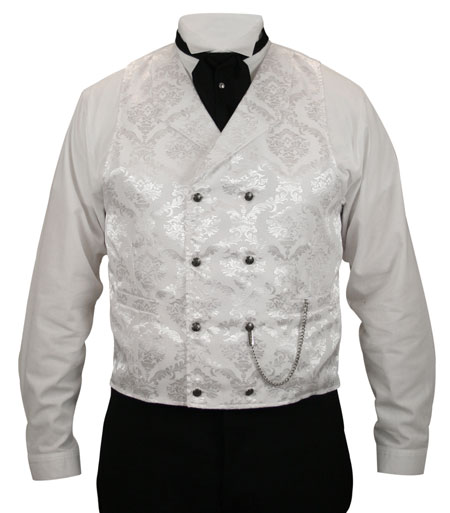 Godfrey Double Breasted Vest - White Brocade