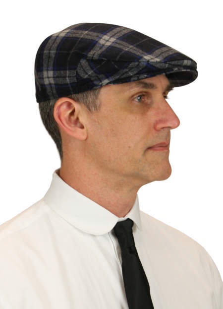 Steampunk Mens Blue Tweed,Wool Cap | Gothic | Pirate | LARP | Cosplay | Retro | Vampire || Ivy Cap - Navy Donegal Tweed