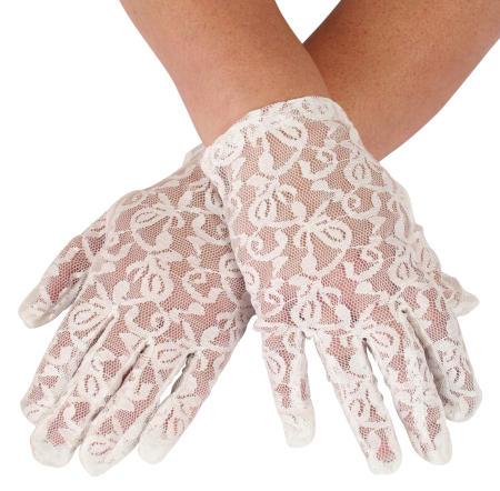 Victorian Ladies White Gloves | Dickens | Downton Abbey | Edwardian || Lace Gloves - White Plain Wrist