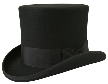 1800s Mens Black Wool Felt Top Hat | 19th Century | Historical | Period Clothing | Theatrical || Victorian Top Hat - Black