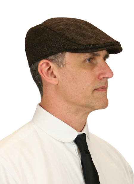 Vintage Mens Brown Cap | Romantic | Old Fashioned | Traditional | Classic || Ivy Cap - Brown Herringbone Tweed