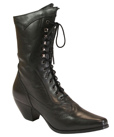 1800s Ladies Black Leather Solid Boots | 19th Century | Historical | Period Clothing | Theatrical || Ladies Leather Victorian Boot - Black