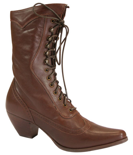 Vintage Ladies Brown Leather Solid Boots | Romantic | Old Fashioned | Traditional | Classic || Ladies Leather Victorian Boot - Brown