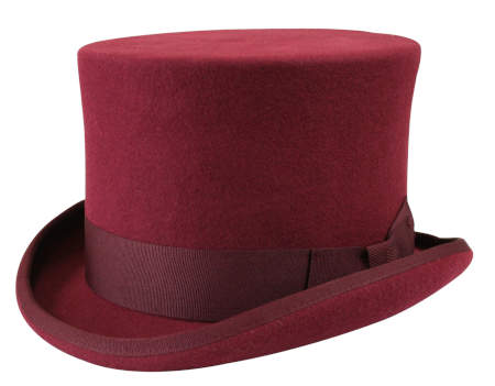 Victorian Mens Burgundy,Red Wool Felt Top Hat | Dickens | Downton Abbey | Edwardian || Deluxe John Bull Top Hat - Burgundy