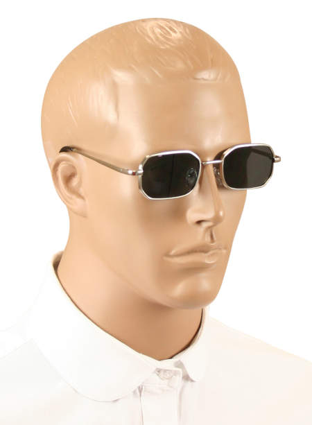 Vintage Mens Alloy,Plastic Sunglas | Romantic | Old Fashioned | Traditional | Classic || Octagon Sunglasses - Silver