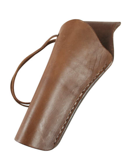 1800s Mens Brown Leather Un-Tooled Holster | 19th Century | Historical | Period Clothing | Theatrical || Western Holster - LH Cross-Draw - Plain Chocolate Brown Leather