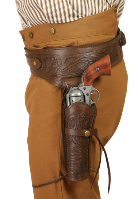 Wedding Mens Brown Leather Tooled Gunbelt Holster Combo | Formal | Bridal | Prom | Tuxedo || (.38/.357 cal) Western Gun Belt and Holster - LH Draw - Chocolate Brown Tooled Leather